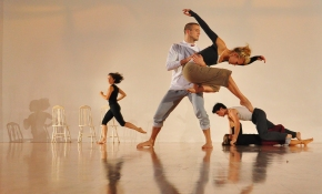 """Pam England's """"Wake"""" in rehearsal at Dogtown Dance Theatre. Photo by Carlos Funn."""